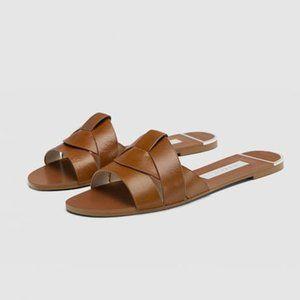 Zara Leather Crossover Slide Sandals